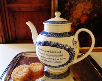 Wesley-Wedgwood Replica Teapot, Vintage Blue and White English Ironstone Teapot, Farmhouse Chic, Blue Calico Ironstone Teapot
