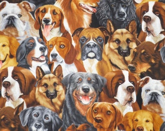 Packed Dog Portraits Print Pure Cotton Fabric--One Yard
