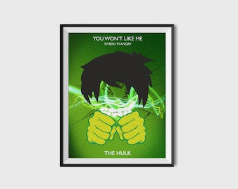 Incredible Hulk 2.0 Print - Minimalist, Marvel Comics, Comic Print, Avengers, Superhero Wall Art