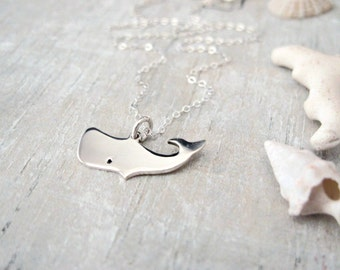Whale Necklace - Sterling Silver - Fish Necklace - Minimal Necklace - Animal Necklace - Tiny Silver Necklace - Sterling Silver Necklace