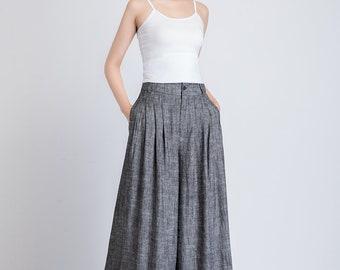 gray palazzo pants women, maxi linen pants, wide leg pants, loose pants, womens pants, high waisted pants, pants with pockets 1938