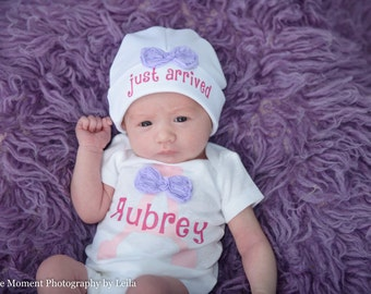 Cute Baby Girl Onesie Bodysuit Custom Name and Baby Beanie Hat Just Arrived Newborn to 9 Months