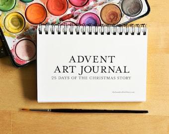 Advent Art Journal 4x6 printable - Nativity Advent Calendar - Christmas Crafts Kids - Bible Art Journaling - Kids Activity