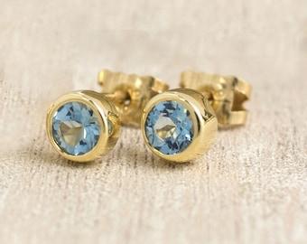 Aquamarine Earrings | March Birthstone Earrings | Aquamarine Gold Studs | Gold Gemstone Earrings | Rose Gold Studs | Alison Moore Designs