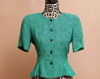 Vintage 80s Silk Studio Green Blouse
