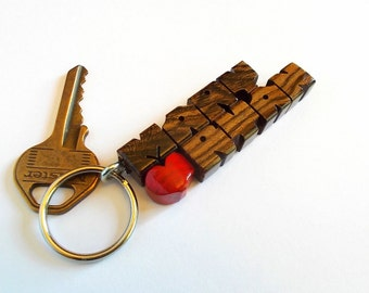 Lauro Preto Wood 2-Liner Love Keychain, Names Custom Carved to Order