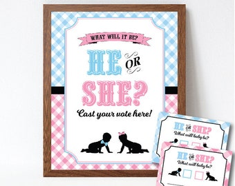 Baby Q Gender Reveal Voting Sign and Cards, BBQ Gender Reveal Decorations, Gender Reveal Party, Instant Download, Printable PDF Files