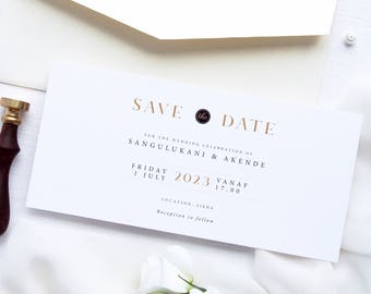 Akende Save the Date Cards, Printable Save the Date Cards or Printed Save the Date Cards, DL size Save the Date, Classy Save the Date