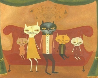 Family Portrait.  Limited edition print by Matte Stephens.