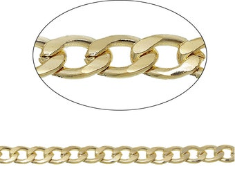 Bulk Necklace Chain 6.5 Feet Gold Plated Curb Chain 9mm x 6mm x 2 Meters - FD266