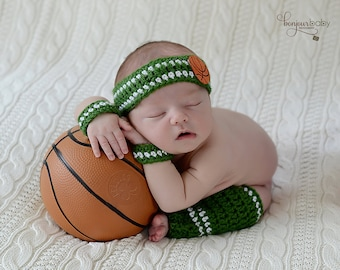 Newborn Basketball Player Photo Prop/ Newborn Sports Team Photo Prop/Newborn Legwarmers and Headband