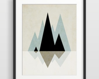 Geometric Print Scandinavian Art Abstract Art Print Mid Century Modern Art Print Geometric Art Mountain Art Nordic Art Abstract Wall Art