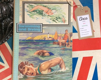 Handmade vintage swimming themed journal/notebook/diary