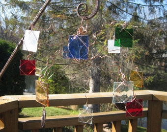Copper multi colored glass hanging sculpture