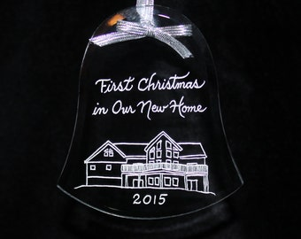 Ornament ships in 1 day, First Christmas in New Home, Your Home Custom Engraved