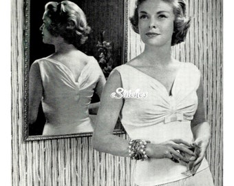 1950s Simple Evening Sweater with Gathered Ruched Bust -  Machine Knit Pattern PDF 1758