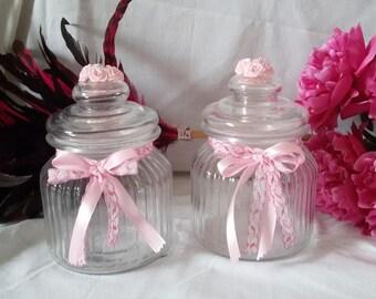 glass jar Shabby chic pink powder