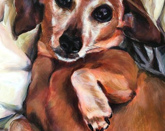 Sweet Eyed Dachshund Giclee Print from an original painting