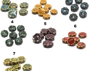 """ceramic beads 4/12 """"flower"""" 17 x 17 x 7 mm, color choices"""