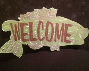 WELCOME fish shaped sign