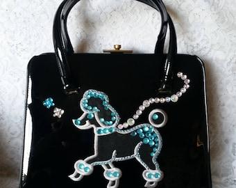 SALE - Vintage Black Patent Handbag, Newly embellished with a Beautiful Poodle