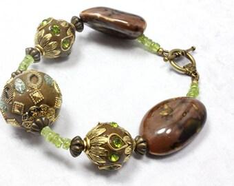 Peridot Vintage Style Bracelet, Kashmiri Beads, Peridot Green and Brown, Boho Bracelet, August Birthstone, Artisan Beads