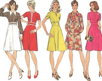 1970s Dress Pattern Princess Seam Slit Neck Pointed Collar Midriff Dress Vintage Sewing Pattern Simplicity 5500 Size 12 Bust 34