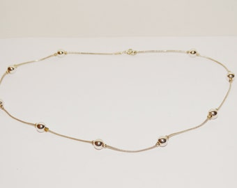 """Vintage Sterling Silver 16"""" Italy made Bead Chain."""