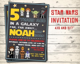 Star wars invitation etsy star wars invitation star wars birthday invitation star wars party invitation personalized invite 4x6 and 5x7 sizes filmwisefo