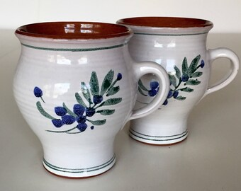 Pair Vintage Ceramic Mugs, Ceramic Coffee Mugs With Hand Painted Leaves And Berries