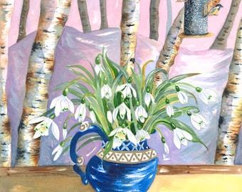 Winter Snowdrop - Original Watercolor Painting