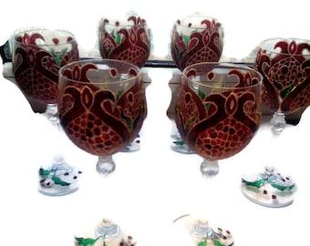Glass wine glasses, wineglasses painted wine glass, set of wine glasses,set of 6 hand painted wine glasses