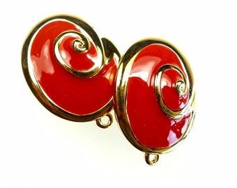 Clip on earrings, red enamel