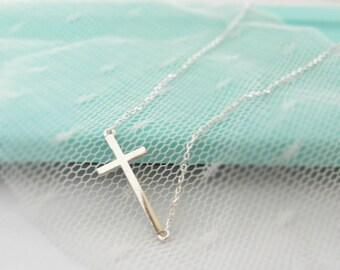 Sterling Silver Sideways Cross Necklace Delicate Necklace Dainty Necklace Christmas gifts Gifts Christmas Gift Necklace