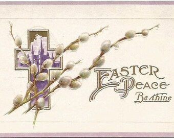 Cross with Cathedral Scene in Center Pussy Willow Spray Over It Vintage Postcard Easter Greeting