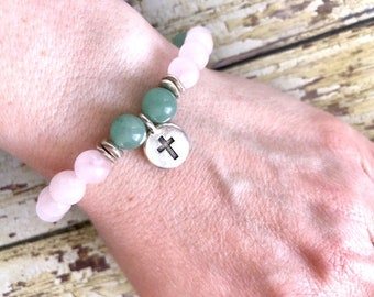 Green Aventurine Rose Quartz Cross Charm Bracelet