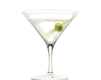 Classic Martini MidCentury Cocktail Illustration Print