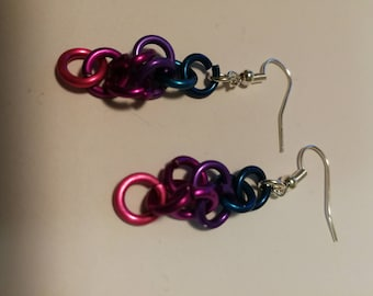 Aluminum circle ombre earrings