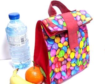 """lunch bag """"bonbon"""" Sac à gouter enfant  rouge"""