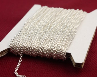 Sterling Silver Plated Chain bulk Chain, 300 ft of Round Soldered Chain Cable Chain - 2x2.5mm SOLDERED link - Necklace Wholesale chain