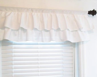 White Shabby Chic Two Tiered Valance  Custom Ruffle Valance with Two Tiers Nursery Valance  Ruffled Curtain