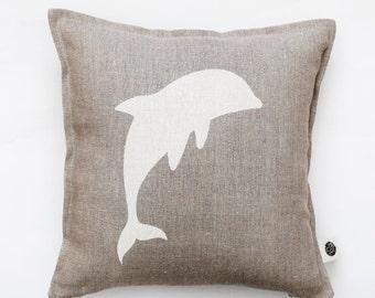 Dolphin pillow cover - linen pillow - decorative pillow - dorm decor - tie dye - accent pillow - home decor - sofa pillow cover 0345