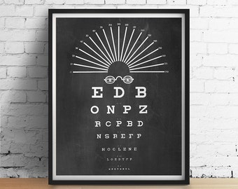 Vintage Eye Chart Art Print Optical Glasses Typography Chalkboard Black White Gray Minimalist Optometry Wall Art Decor Poster