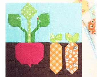 Plant a Garden Farmgirl PDF quilt block pattern - Includes instructions for 6 inch and 12 inch Finished Blocks