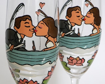 Hand painted Wedding Toasting Flutes Set of 2 Personalized Champagne glasses Groom and Bride on Boat pink waterlilies around them