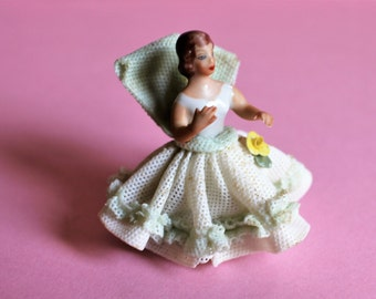 Rare Vintage Dresden Lace Porcelain Miniature Porcelain Figurine, Lady in Crinoline Ball Gown/Hand painted