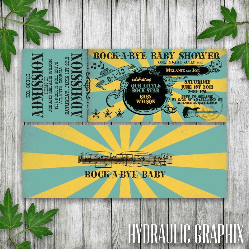 Rock n Roll Baby Shower Invitation Ticket RockaBye Baby