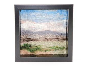 Wool Landscape Painting - Needle Felted Fiber Art Landscape - Gray Mountains (6x6 Black Frame)