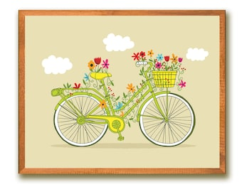 "INSTANT DOWNLOAD~Vintage Bicycle~8""x10""~Printable~Home Decor~Wall Art~Digital~Illustration~Home Decor~Flowers~Art Print~Colorful~Bike"