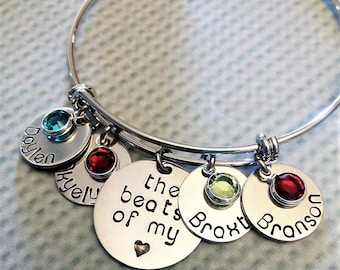 Personalized Mom Bracelet, Hand Stamped Mom Bangle, Mother Jewelry, Kids Name Bracelet, Adjustable Mom Bangle, Gift for Mom, Mom Jewelry